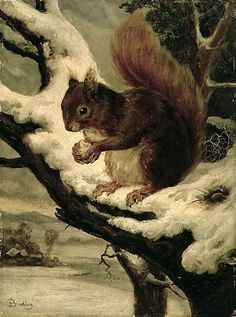 Basil Bradley A Red Squirrel Eating a Nut 16x22 [Kitchen]