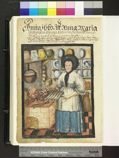 From: Die Hausbucher der Nurnberger Zwolfbruderstiftungen  The cook standing in her kitchen on the tile floor and holds in of the Right a grate with five great fishing, which are to be roasted above the carbon fire of the cooker. Jugs and various plate as well as a mortar stand ready, right on ground a large Kupferkanne on the two shelves on the walls. 1663