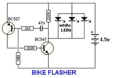 BIKE FLASHER This circuit will flash a white LED (or 2,3 4 LEDs in parallel) at 2.7Hz, suitable for the rear light on a bike. By Collin Mitchell - 30 LED Project.