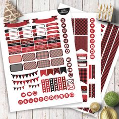 Red Black Buffalo Check Planner Stickers | Boho chic | Buffalo Plaid Kit | Planner Stickers for Erin Condren | Weekly Kit by AlakazooDesigns on Etsy