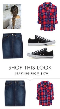 """Plaid all day👌🏼"" by riahnicole-1 ❤ liked on Polyvore featuring 7 For All Mankind and Converse"