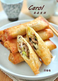 炸春捲。Deep Fried Spring roll (附實作影片) Spring Rolls, Meat, Chicken, Ethnic Recipes, Food Ideas, Asia, Cooking, Kitchen, Egg Rolls