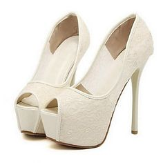 Shimandi ® Lace Women's Stiletto Platform Heels Peep Toe Pumps Shoes(More Colors) – USD $ 29.99