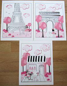 Pink Black Paris Parisan Toile 3 Art Prints by sweetpeasartstudio2, $17.99