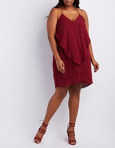 5ab85eed5e0 Plus Size Ruffle Shift Dress  Charlotte Russe Shoulder Dress