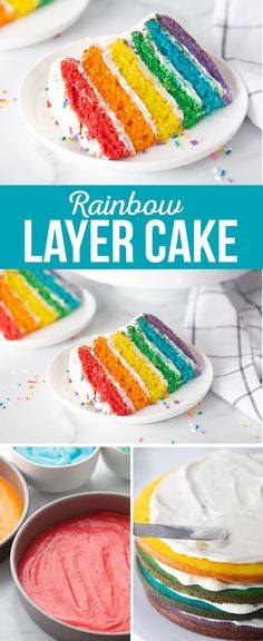 Make this Rainbow Layer Cake with Cream Cheese Frosting for a special occasion and wow you audience when you slice into this colorful, 6-layer rainbow cake. Layer Cake Recipes, Easy Cake Recipes, Easy Desserts, Delicious Desserts, Dessert Recipes, Rainbow Layer Cakes, Rainbow Desserts, Easy Rainbow Cake Recipe, Colorful Cakes
