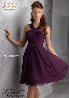 Style OZIVIZ Luxe Chiffon Bridesmaid Dress  Cocktail Length. Zipper Back. Available in all Luxe Chiffon colors. Sizes Available: 2-28.