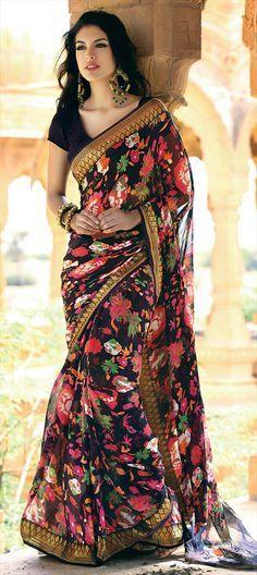 Black Floral Sari. Im In Love! And she is gorgeous! India Fashion, Ethnic Fashion, Womens Fashion, Saree Styles, Indian Dresses, Indian Clothes, Indian Suits, Indian Attire, Saree Blouse