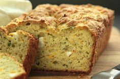 Savory Summer Squash Quick Bread- made this tonight, perfectly moist and cheesy. I split the batter between two smaller loaf pans and baked for 45 minutes. Contemplating using the bread for grilled cheese sandwiches tomorrow