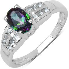 Olivia Leone Sterling Silver 1 1/5ct Mystic Topaz and White Topaz Ring ($32) ❤ liked on Polyvore featuring jewelry, rings, green, sterling silver rings, fine jewellery, mystic topaz jewelry, green jewelry and fine jewelry