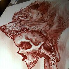 39 Trendy Ideas for tattoo wolf skull Wolf Tattoos, Band Tattoos, Skull Tattoos, Flower Tattoos, Body Art Tattoos, Sleeve Tattoos, Naval Tattoos, Tatoos, Wolf Tattoo Design