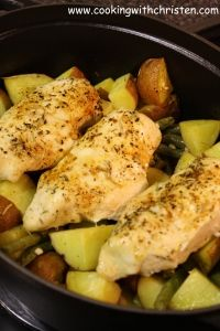 Pan-Roasted Chicken with Lemon-Garlic Green Beans and Potatoes