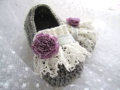 White Lace Purple Flower Gray Wool Crochet Baby by MyMayaMade, $24.99