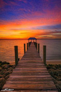 Pier at Sunset Stuart Florida along the Waterway Beautiful Sunset, Beautiful World, Beautiful Places, Florida Vacation, Florida Travel, Landscape Photography, Nature Photography, Stuart Florida, Sunset Pictures