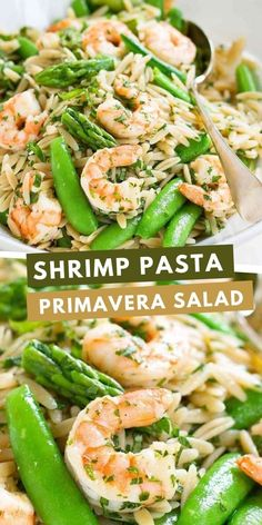 Welcome spring with this Shrimp Pasta Primavera Salad! Packed with asparagus and snap peas, it's perfect for a light dinner or picnic lunch. 219 calories and 4 Weight Watchers SP | With Lemon Dressing | Easy | Healthy | Recipes | Summer | Cold | Best | Orzo #pastasalad #picnicrecipes #potluckrecipes #shrimprecipes #weightwatchers #smartpoints Shrimp Recipes For Dinner, Yummy Pasta Recipes, Pasta Salad Recipes, Seafood Recipes, Seafood Meals, Cooking Recipes, Top Recipes, Family Recipes, Healthy Summer Recipes