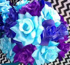 17 Piece Wedding Package, 22 Rose Colors, Malibu Blue Purple Royal Blue Bouquet, Malibu Blue Bouquet, Turquoise Bouquet, Purple Bouquet