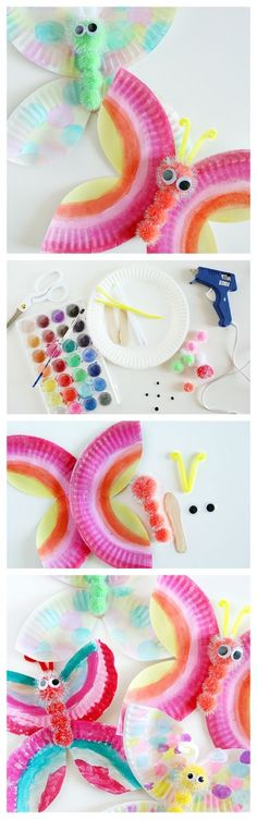 Paper Plate Butterfly Craft. This is such a cute Kids Craft Idea.
