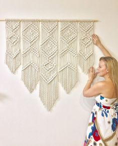 Extra large macrame wall hanging on wood 55 inches king size | Etsy