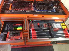 Page Lets see pictures of your tool box organization General Tool Discussion Us General Tool Box, Mechanic Garage, Car Garage, 2006 Pontiac Gto, Harbor Freight Tools, Blue Liner, Wooden Organizer, Home Workshop, Old Tools