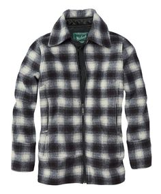 This Woolrich Black & Winter White Plaid Chatham Creek Wool-Blend Jacket by Woolrich is perfect! Hippy Fashion, Plaid Jacket, Outdoor Outfit, White Plaid, Winter White, Clothing Company, Wool Blend, Jackets For Women, My Style