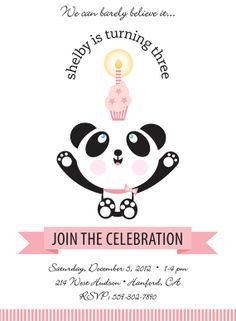 Panda Bear Birthday Party Invitation for Kids by TBoneSquid, $15.00