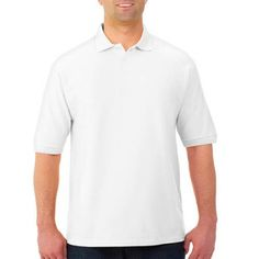 Jerzees Big Mens Easy Care Short Sleeve Polo Sport Shirt with Wicking, Size: 4XL, White