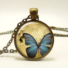 Butter Fly Necklace Vintage Style Jewelry Cute by rainnua on Etsy, $14.45