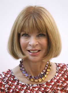 Anna Wintour - Style Icon - The Jewel Expert: Three necklaces, Kunzite, Amethyst and Citrine. I love these chokers.