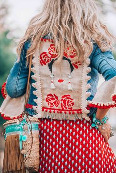 Street Style-SHEISREBEL.COM, dang this denim jacket is somerhing else!, denim jacket with bright colorful embellishments, red pom poms and embellishment on a denim jacket