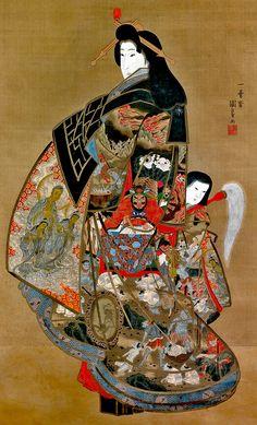 Hell Courtesan (Jikoju Dayu), latee by Utagawa Kuniyoshi. Ancient Japanese Art, Traditional Japanese Art, Japan Architecture, Cultural Architecture, Japan Painting, Artist Painting, Oriental, Geisha, Samurai