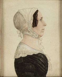 Attributed to Rufus Porter. American, 1792-1884. 1840s. Profile portrait of a woman; back of frame and backboard each bear red accession number 50.4; inside of backboard bears small paper label inscribed 3947/J36/3. Watercolor and ink on paper. 3 3/4 x 3 1/4in (9.5 x 8.3cm). Via Bonhams.