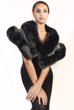 237b5594b0621 Black Fox Shawl with Leather and Swarovski Crystal Inset. Fur Coat ...