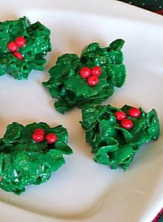 Holly Cookies #christmas #recipe