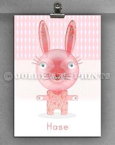 Bild HASE - Kinderbild Bild Kinderzimmer Print Druck - ein Designerstück von JollyArtPrints bei DaWanda