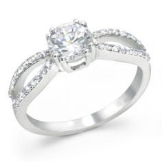 925 Sterling Silver Infinity Round CZ Diamond Engagement Ring