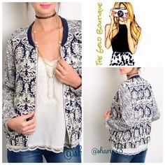 Paisley Vintage Print Jacket Navy & Antique white vintage paisley print jacket. Zipper closure, made of rayon. Very light weight and breathable. Pair with denim, capris, shirts, shorts or pants.  Sizes available S, M, L The Gold Boutiqe Jackets & Coats Blazers