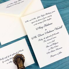 Mary Katherine and Davis Woodall wedding invitations featured a deep blue ink and one of our most lovely script typefaces for a perfectly classic New Orleans fete.