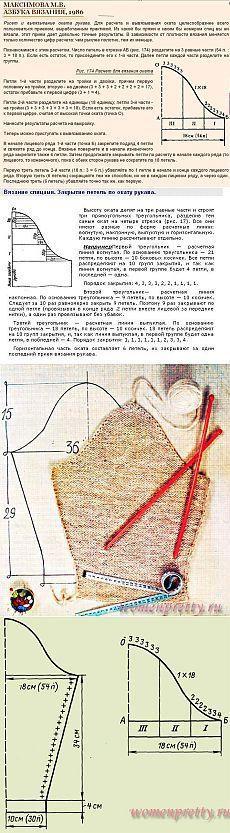 Расчет и вывязывание рукава до оката.