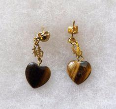 $3.03 - Tiger Eye Heart Earrings (21117-126 ER) fashion, jewelry #Unknown #DropDangle