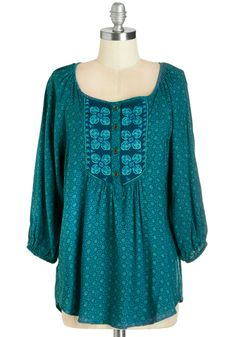 Express Your Creativity Top. This patterned top is as elaborate as your artistic flair! #blue #modcloth