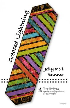 Greased Lightning Jelly Roll Runner sewing pattern by Tiger Lily Press #tablerunner #tablerunnerdiy #tablerunnerquilted #tablerunnerpattern