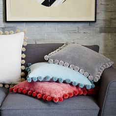 Jay Street Ashti Pom Pom Pillow Cover - Platinum | West Elm