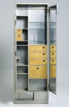 Dresser in wood and aluminum, designed by Eileen Gray for E 1027.