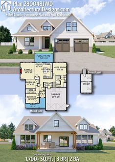 Small farmhouse plans for building a home of your dreams This modern farmhouse s. Small farmhouse plans for building a home of your dreams This modern farmhouse style property was designed by architects. Small Farmhouse Plans, Modern Farmhouse Design, Modern Farmhouse Exterior, Country Farmhouse, Farmhouse Decor, Craftsman Farmhouse, Modern Country, Farmhouse Bedrooms, Small Country Homes