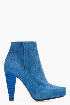 Proenza Schouler Blue Suede Printed Ankle Boots