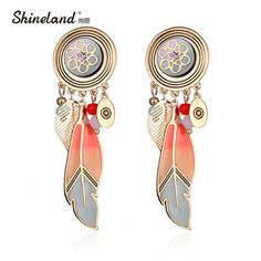 Shineland New Top Quality Bohemian Ethnic Shell Enamel Flower Leaves Drop Dangle Earrings Boucle D'oreille Female Accessories