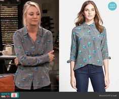 Penny's grey floral printed blouse on The Big Bang Theory. Outfit Details: https://wornontv.net/38257/ #TheBigBangTheory
