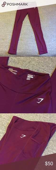 Gymshark Workout Leggings with Pockets Maroon full length workout leggings with pockets! Only worn twice, like new condition, no pilling or flaws. Gymshark Pants Leggings