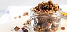 #Oats, spices and dried fruit come together in a happy, healthy way in this Holiday #Granola. Mix it into your morning #yogurt or add to a #fruit-filled #dessert parfait! #eatclean #eatcleandiet #granolarecipe #eatingclean #cleaneating #toscareno #vegetarian #breakfast #snack