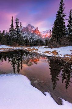 The Beauty of Mt. Kidd Kananaskis Country Alberta,Canada, by Sherwin Calaluan. Winter Landscape, Landscape Photos, Landscape Photography, Nature Photography, Travel Photography, Cool Landscapes, Beautiful Landscapes, Beautiful World, Beautiful Images